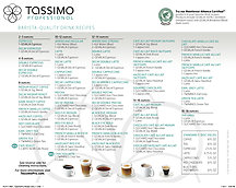 Tassimo Pro - Laminated Drink Menu