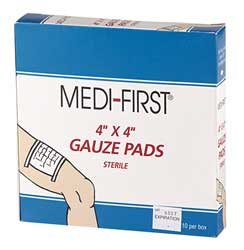Medi-First 4 x 4 Gauze Pads (10 Count)